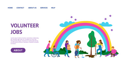 Volunteers Helping Concept Card Landing Web Page Template. Vector