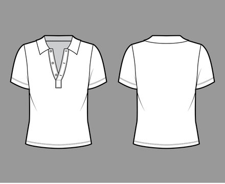 Polo shirt technical fashion illustration with cotton-jersey short sleeves, oversized, buttons along the front. Flat outwear apparel template front, back, white color. Women men unisex top mockup