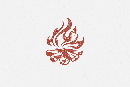 Red silhouette of hot campfire burning on logs on campsite hand drawn stamp effect vector illustration.