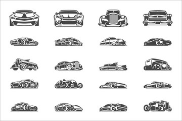 Fototapeta Vintage classic car silhouettes and icons isolated on white background vector illutrations set. obraz
