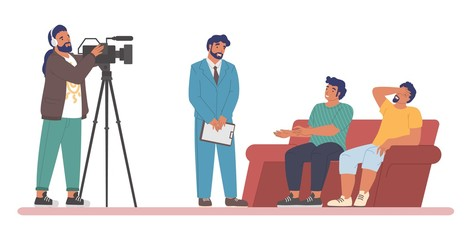 TV talk show. Male cartoon characters, host interviewing guests, two participants sitting on couch, cameraman shooting video, flat vector illustration. Live chat show program on television.