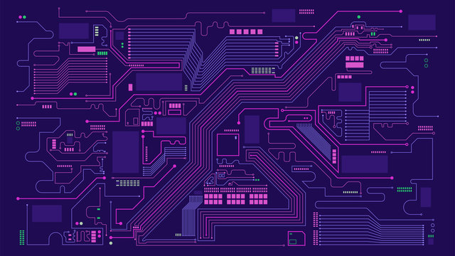 Digital circuit board elements abstract background