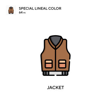 Jacket Simple vector icon. Perfect color modern pictogram on editable stroke.