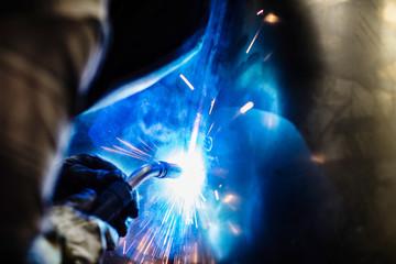 Blue Welding Sparks