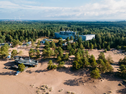 Aerial view to Beautiful sandy beach Yyteri at summer, in Pori, Finland