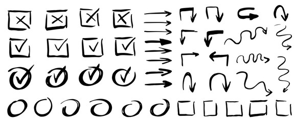 Vector checklist marks icon set. Hand drawn strokes and pen markings V marks for list items. Hand drawn check signs.