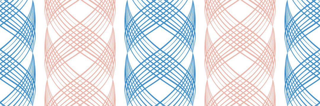 Vector inky blue and pink abstract braid effect damask weave border. Banner with curled woven lattice ribbons in alternating colors on white backdrop. Geometric design for ribbon, edging, trim.