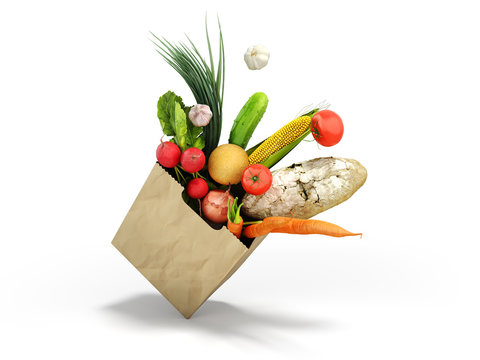 fresh food in a paper bag for products 3d render on white