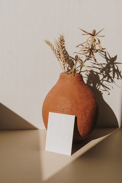 Blank paper sheet card with mockup copy space and clay pot with dry wheat bouquet with sunlight shadow on white background. Minimal business brand template.