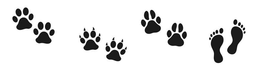 Set of human and animal footprints. Bare human feet. Cat and dog trace. Pet store icon. Steps.
