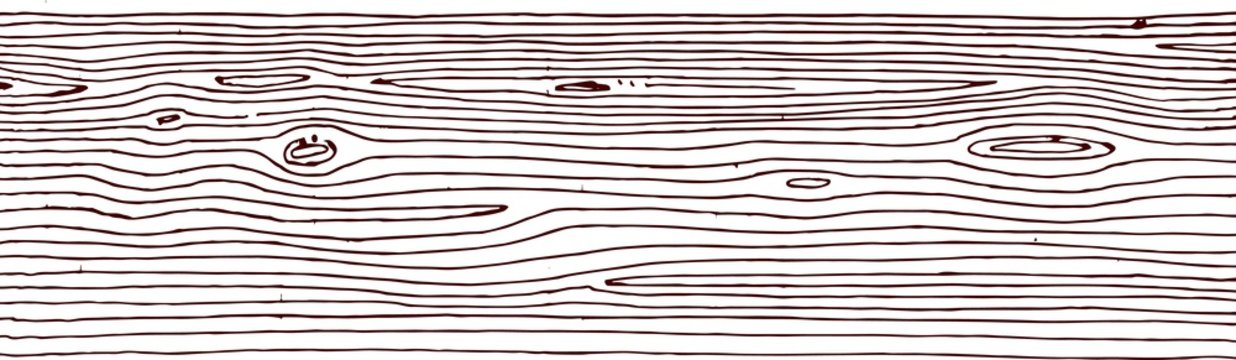 Wood texture. Wooden plank. Board. Outline hand drawing. Isolated vector objects on a white background. A sketch with a felt-tip pen, ink on paper.