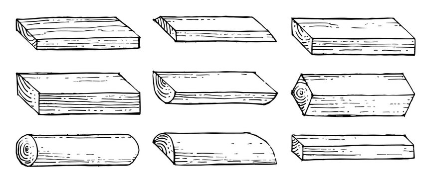 Boards, bars, slabs, slats. Outline hand drawing. Isolated vector objects on a white background. A sketch with a felt-tip pen, ink on paper.