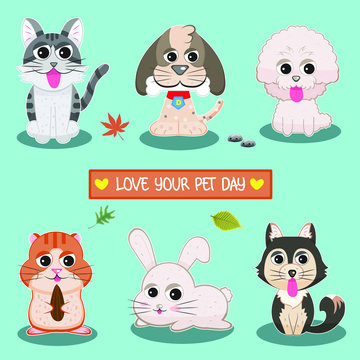 Love Your Pet Day Vector Collection
