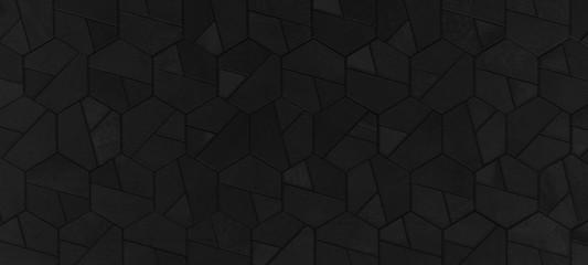 Black anthracite abstract dark seamless geometric hexagonal hexagon mosaic cement stone concrete...
