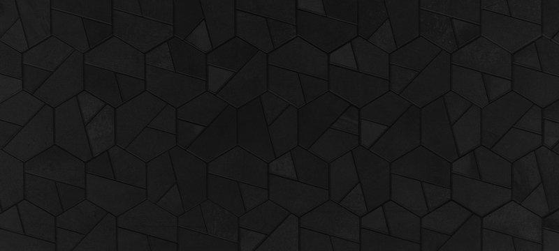 Black anthracite abstract dark seamless geometric hexagonal hexagon mosaic cement stone concrete tile wall texture background banner