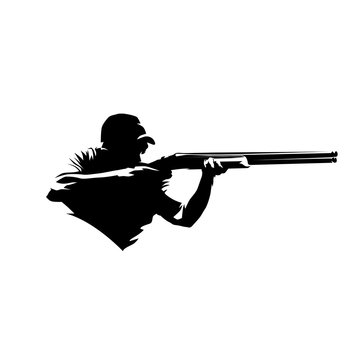 Trap shooting, aiming athlete with gun, isolated vector silhouette. Ink drawing