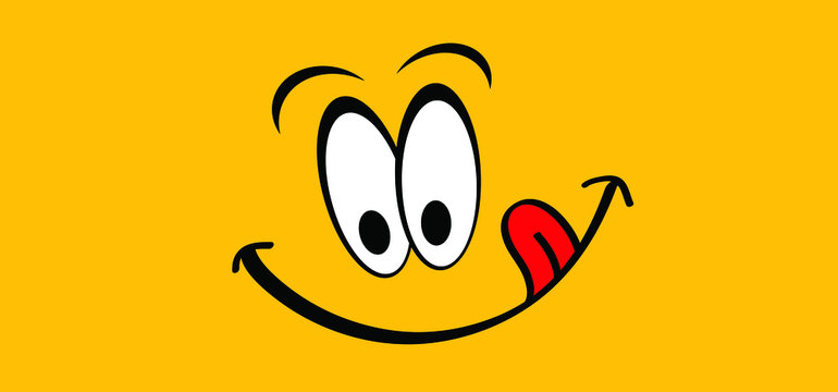 Mmm Yummy smile with tongue lick mouth World smile day or month Food logo Smiling everyday Funny vector laugh cartoon sign Delicious, tasty eating emoji lip face Emotion smiley lips symbol licking