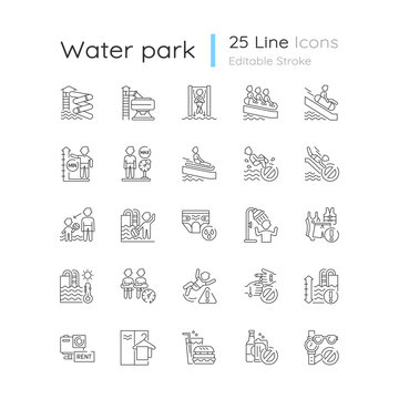 Water park linear icons set. Aquatic play area customizable thin line contour symbols. Safety rules on water slides and in swimming pools. Isolated vector outline illustrations. Editable stroke