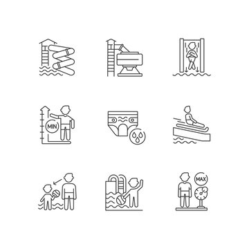 Waterpark linear icons set. Aqua park rides and safety rules. Summertime customizable thin line contour symbols. Fun for adults and children. Isolated vector outline illustrations. Editable stroke