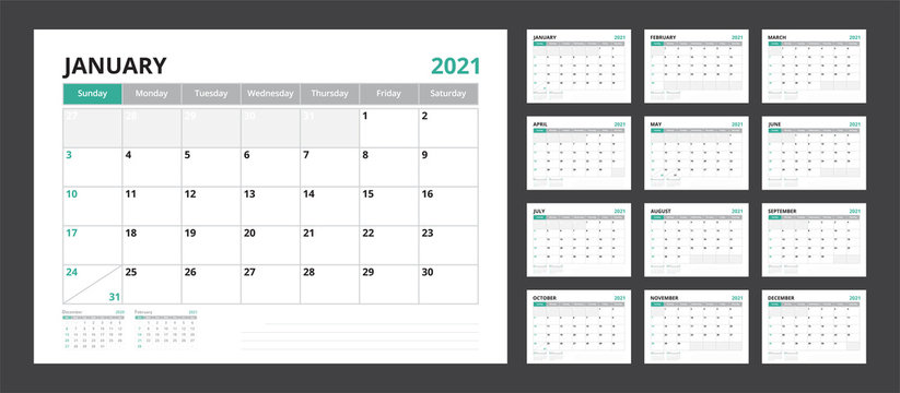 2021 calendar planner set for template corporate design week start on Sunday.