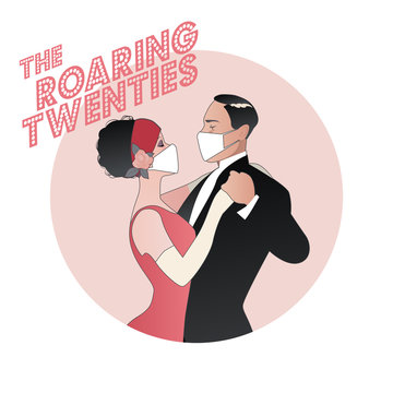 Roaring Twenties. Flapper girl and elegan man dancing, wearing retro clothes and face mask