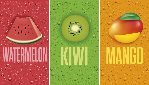 many fresh juice drops background with watermelon, kiwi, mango