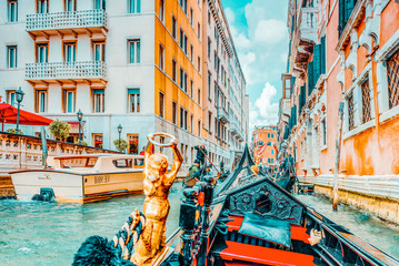 VENICE, ITALY - MAY 11, 2017 : Views of the most beautiful channels of Venice, narrow streets, from the board of the gondola.Italy.