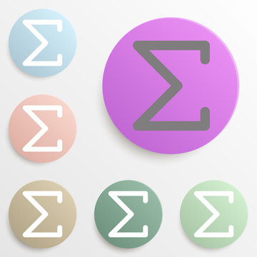 Sigma greek letter badge color set. Simple glyph, flat vector of web icons for ui and ux, website or mobile application