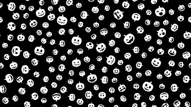 Happy Halloween. Seamless pattern of white pumpkin with emotions and smile on black background.