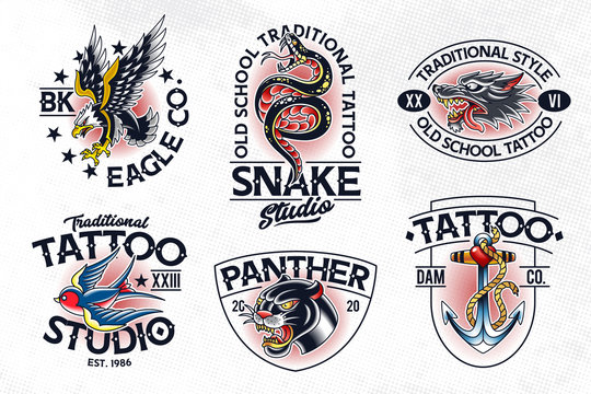 Old School Tattoo Vector Emblems