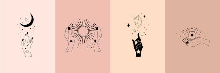 Obraz Set of alchemy esoteric mystical magic celestial talisman with woman hands, sun, moon, stars sacred geometry isolated. Spiritual occultism object. Vector illustrations in black outline style - fototapety do salonu