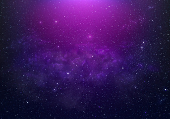 abstract starry Space purple with shining star dust and nebula. Realistic galaxy with milky way and...
