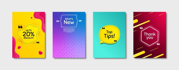 Top tips, 20% discount and whats new. Dynamic cover design. Creative fluid background. Thank you phrase. Sale shopping text. Poster cover template with chat bubble. Quote marks speech bubble. Vector