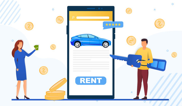 Mobile app for renting a car online showing the screen with a woman holding cash and man holding the key on either side, colored vector illustration