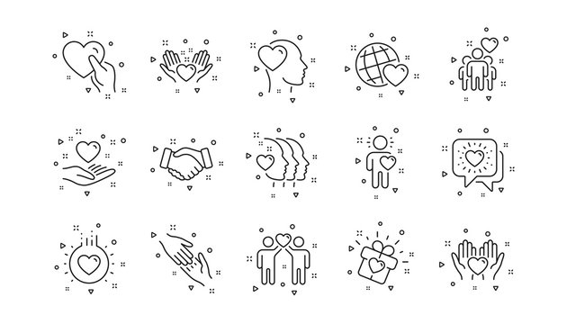 Interaction, Mutual understanding and assistance business. Friendship and love line icons. Trust handshake, social responsibility icons. Linear set. Geometric elements. Quality signs set. Vector