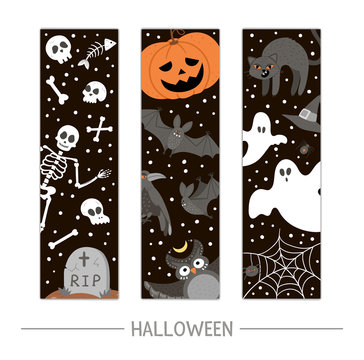 Vector back to school Halloween bookmarks set. Funny all saints day design for banners, posters, invitations. Vertical card template with skeleton, pumpkin lantern, ghosts, black cat and bats..