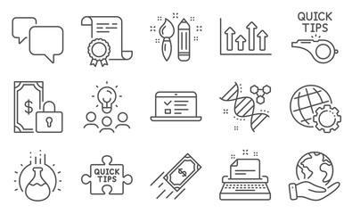 Set of Education icons, such as Tutorials, Quick tips. Diploma, ideas, save planet. Private payment, Chemistry experiment, Fast payment. Web lectures, Globe, Chemistry dna. Vector