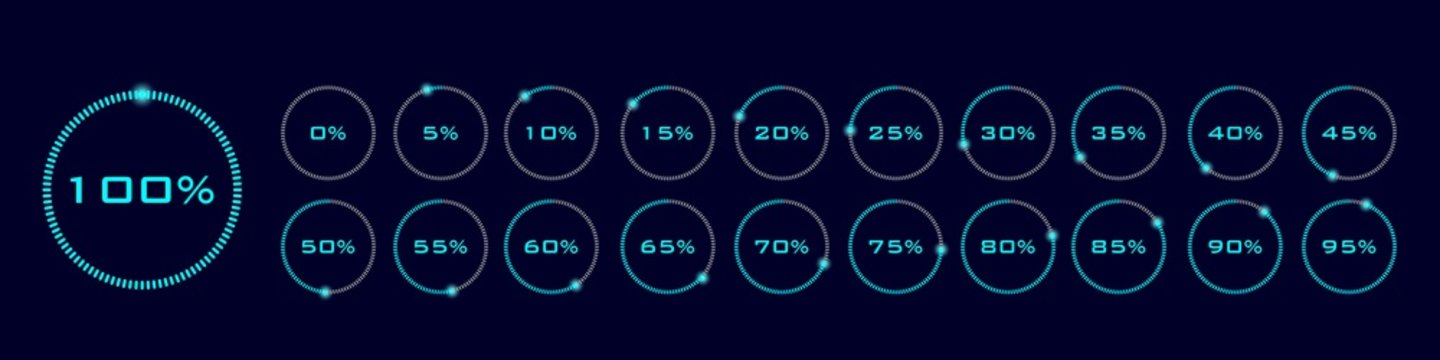 Download progress indicator with percents. Set of circular progress bar icons vector. Collection of 21 elements. Isolated loading icon and sign set on black background, blue round bar elements.