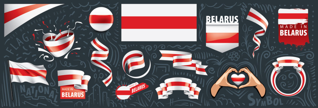 Vector set of the national flag of Belarus in various creative designs