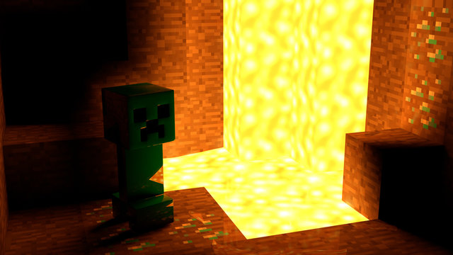 Minecraft Creeper in cave 4K Photo