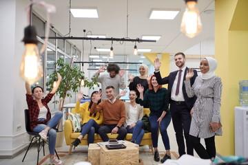 Business team portrait at modern startup office