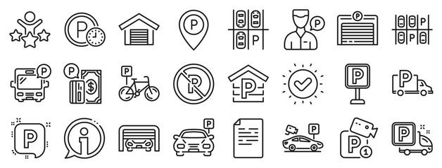 Car garage, Valet servant and Paid transport parking icons. Parking line icons. Video monitoring, Bike or Car park and Truck or Bus transport garage. Money payment, Map pointer and Free park. Vector