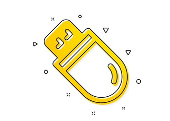 Computer memory component sign. Usb stick icon. Data storage symbol. Yellow circles pattern. Classic usb stick icon. Geometric elements. Vector Wall mural
