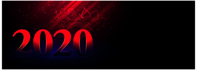 happy new year 2020 glowing banner in pink and blue lights