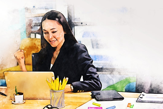 Abstract business woman working in the office on watercolor illustration painting background.