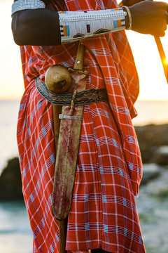 Close up of Maasai warrior with a traditional knife attached to a belt