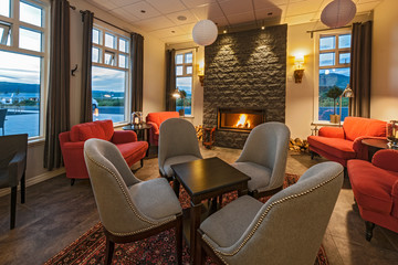 lounge at luxury hotel in Iceland