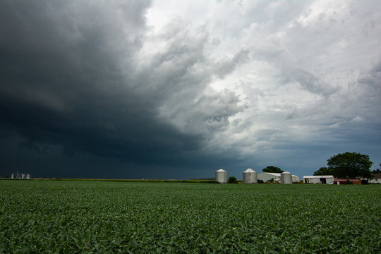 Incoming Derecho approaching across the corn fields.