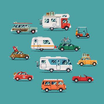 Quality flat vector transport design elements on summer car, van, trailer, camping caravan, surf ride, road trip and vacation travel