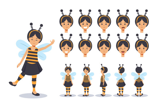 Little Girl in bee costume for Halloween festival.trick or treat. Front, side, back view animated character.Vector Character creation set with various views, Cartoon style, flat vector illustration.